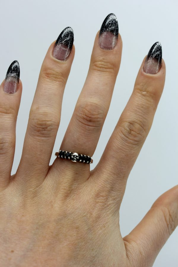 Gothic Ring set with Black Sapphire