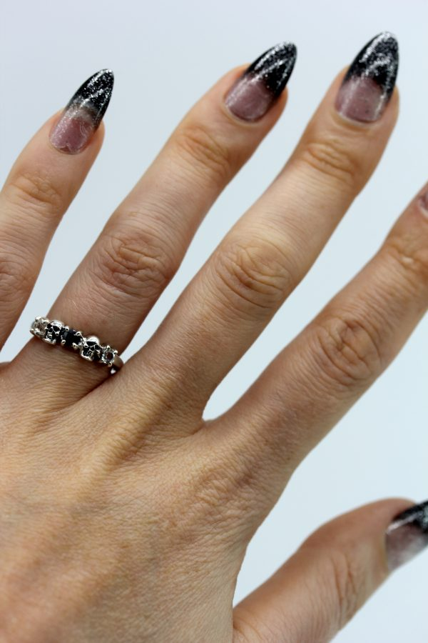 Gothic Ring set with White Topaz and Black Sapphire