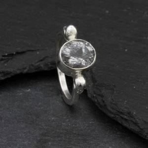 Gothic Ring set with Tormalated Quartz