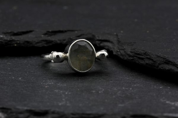 Gothic Ring set with Labradorite