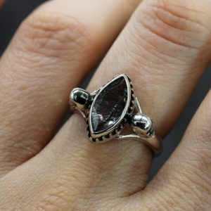 Women's Skull Ring set with Tourmalated Quartz